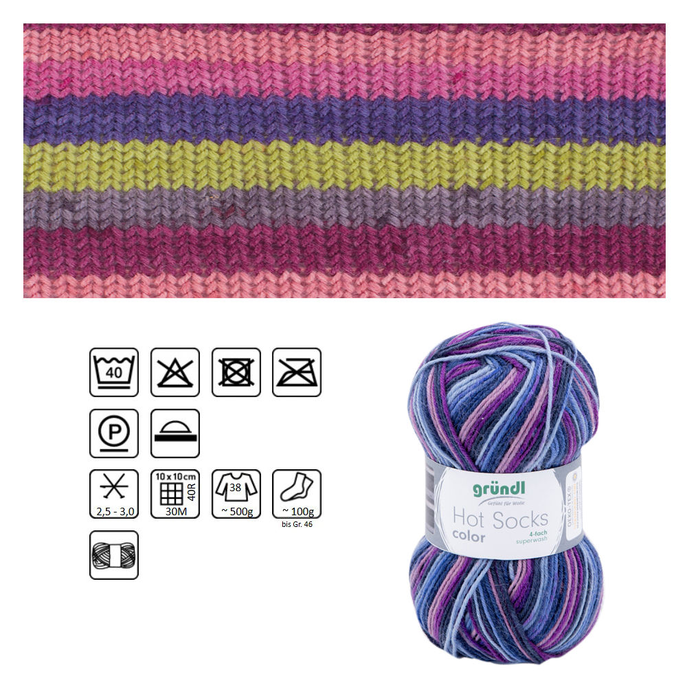Strumpfwolle Hot Socks color, 75% Schurwolle, 25% Polyamid, Oeko-Tex Standard, 50g, 210m, Farbe 402, crazy purple