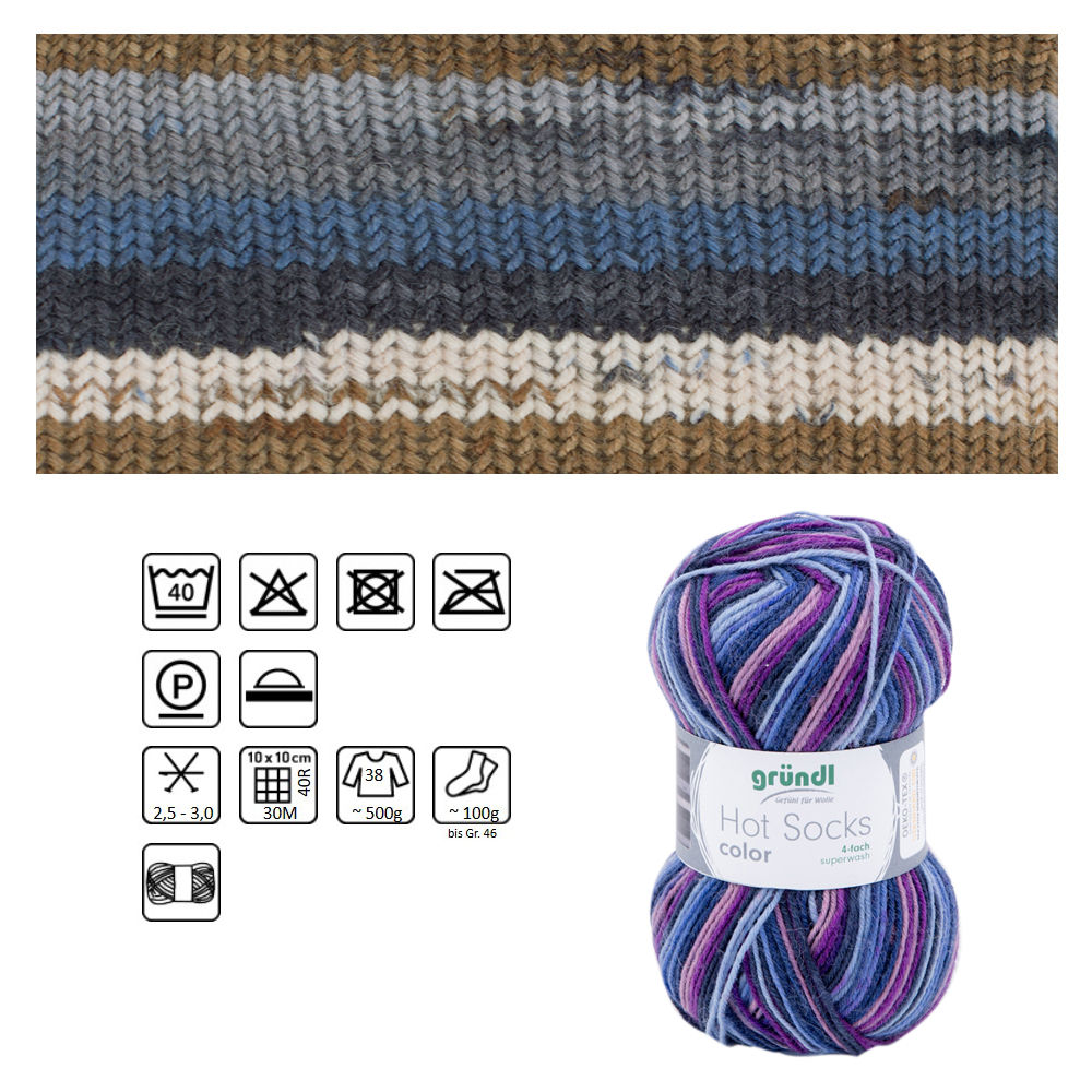 Strumpfwolle Hot Socks color, 75% Schurwolle, 25% Polyamid, Oeko-Tex Standard, 50g, 210m, Farbe 419, savanna