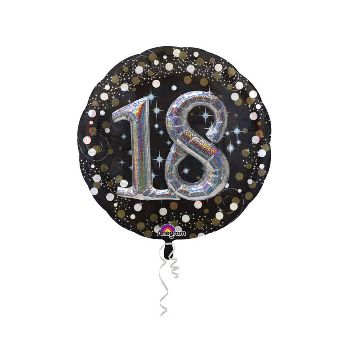 Folienballon Sparkling Birthday 18th, 81 cm