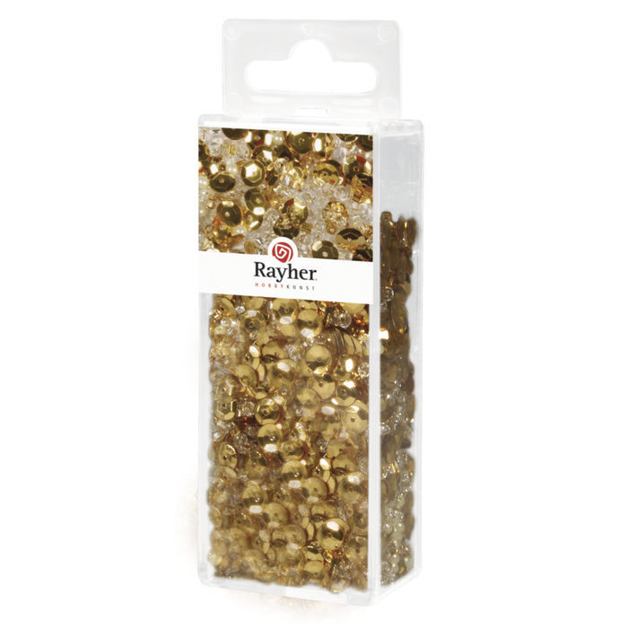 Pailletten-,Glasperlenmix, 80g, gold