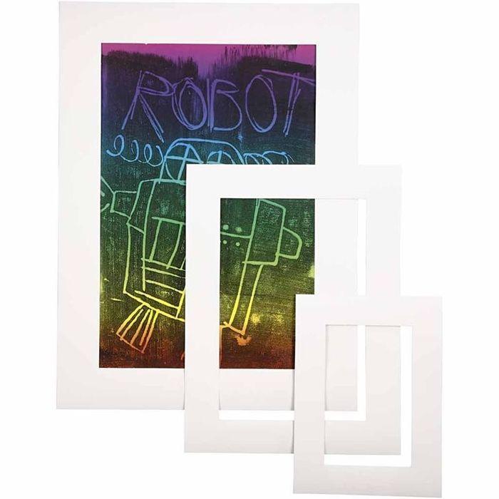 Passepartout-Rahmen, 270 g, 75 sort., Weiß - Sets Papier & Pappe ...