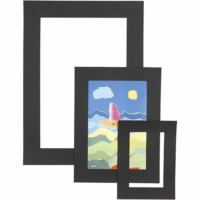 Passepartout-Rahmen, 270g, 75 sort.,Schwarz - Sets Papier & Pappe ...