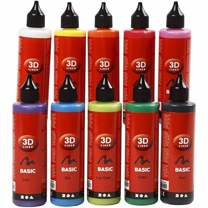 3D Liner-Sortiment, 10x100 ml, sort. Farben