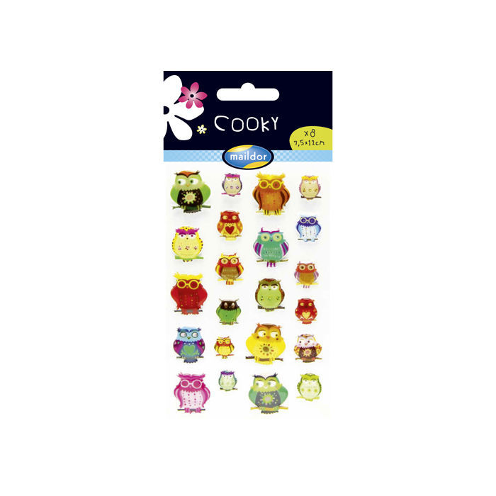 Cooky 3D-Sticker, Coole Eulen