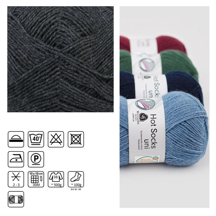 Strumpfwolle Hot Socks uni 50, 50g, Fb.5 anthrazit