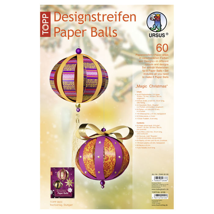 SALE Designstreifen Paper Balls Magic X-Mas