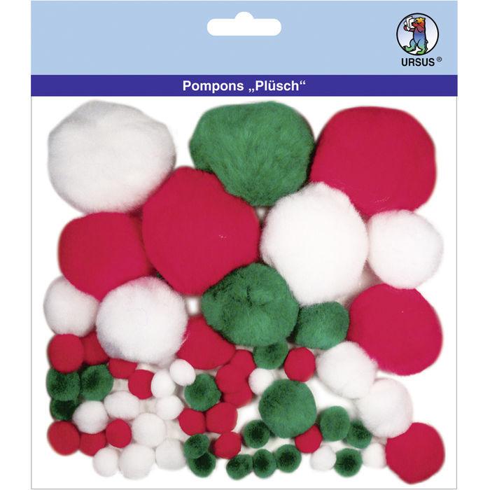 Fingerfarbe Weihnachten.Pompons Plüsch 60 Stk Weihnachten Mix Weihnachtlicher