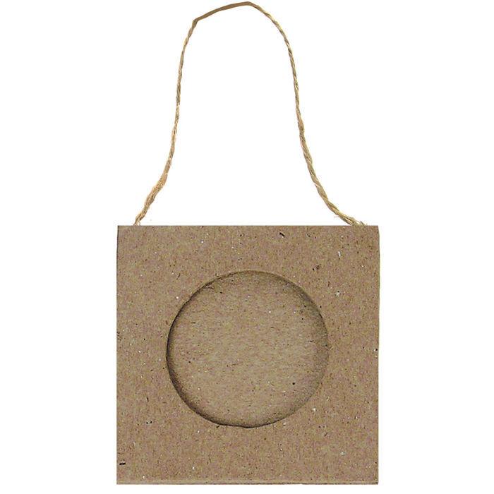 Pappmaché-Rahmen, ca. 8x8cm, Ausschnitt: Kreis - Alles aus Pappmaché ...