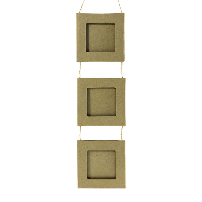 Pappmaché-Rahmen-Kette ´3 Quadrate´, ca.8x29cm - Alles aus Pappmaché ...
