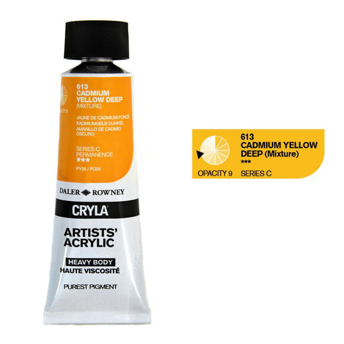 Cryla Acrylfarben, 75ml, Cadmium Yellow Deep