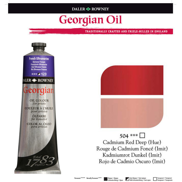 SALE Georgian Ölfarben 225ml, Cadmium Deep Red