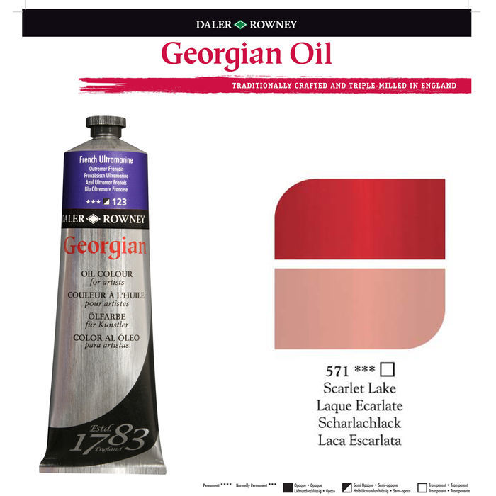 SALE Georgian Ölfarben 38ml, Scarlet Lake