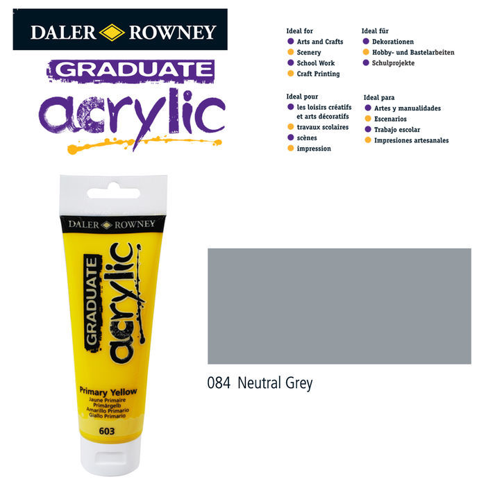 SALE Acrylic Acrylfarbe, 120ml, Neutral Grey