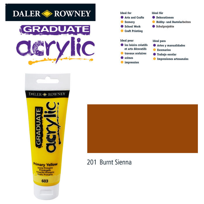 SALE Acrylic Acrylfarbe, 120ml, Burnt Sienna