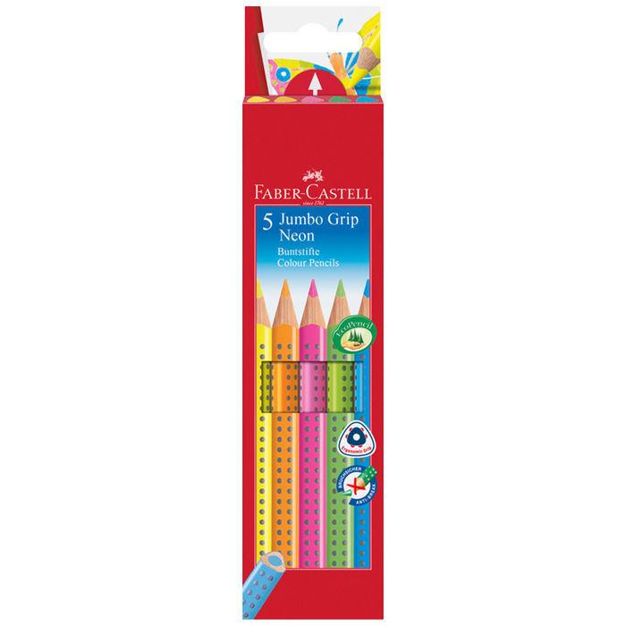 faber castell jumbo grip neon textliner 5 stk filzstifte buntstifte co stifte marker. Black Bedroom Furniture Sets. Home Design Ideas