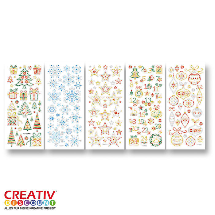 Crystal Sticker, 10x23 cm, 5 Blatt, Winter