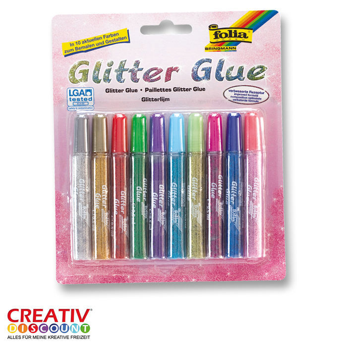 Glitter Glue 10er,10 Klebestifte, je 9,5ml Inhalt