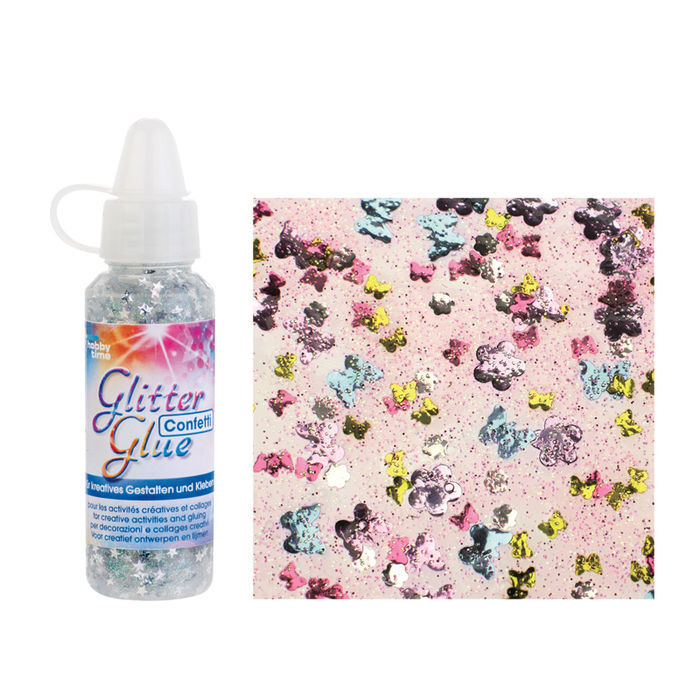 Glitter Glue Confetti, 53ml,Schmetterling bunt