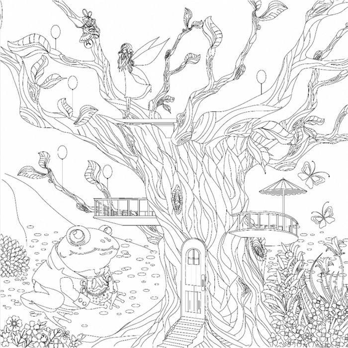 Motivkeilrahmen 30x30cm Baumhaus Zentangle Zeichnen Mit Stift