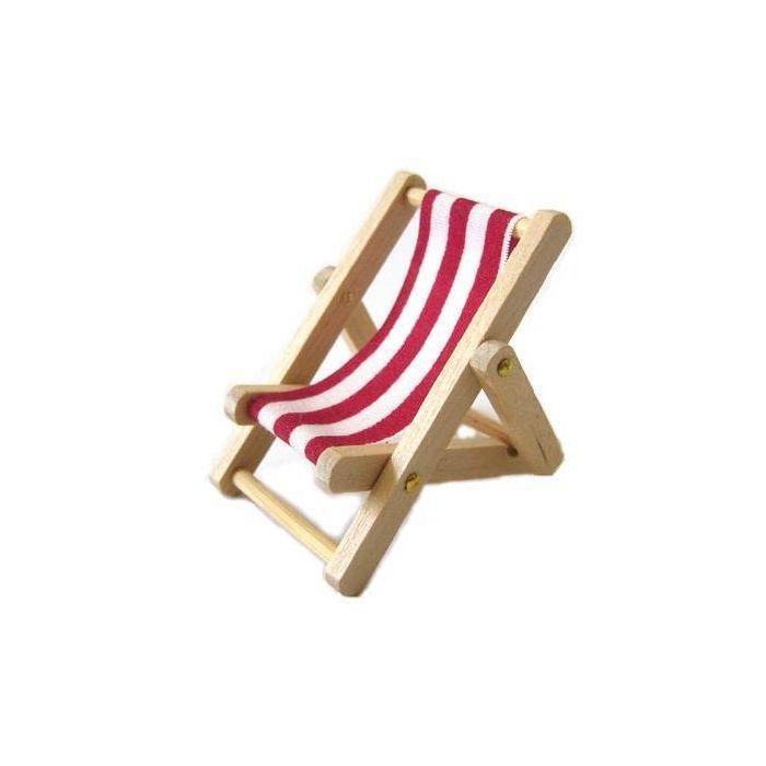 miniatur liegestuhl rot/weiß, 5x3cm - miniaturen aus holz & co,