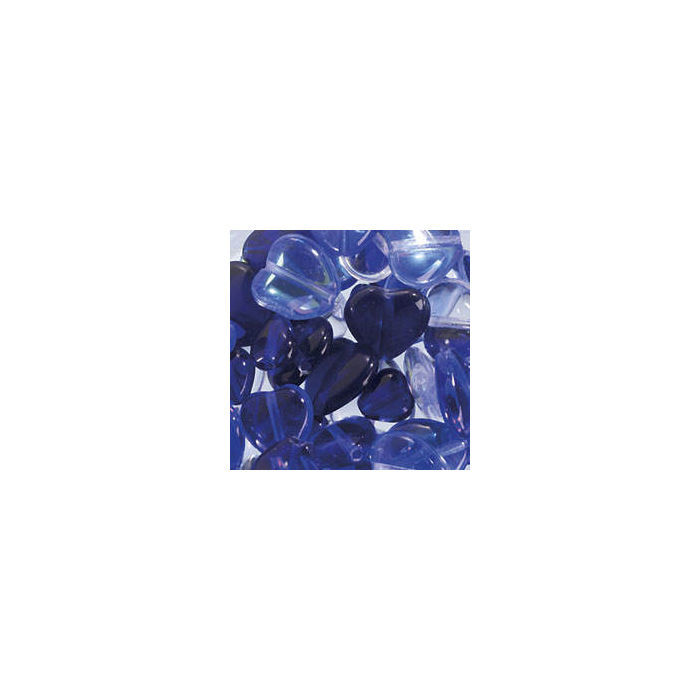 Glasherzen-Mix, 15g, blau