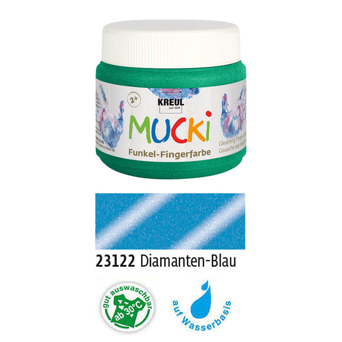 MUCKI Funkel-Fingerfarbe Diamanten-Blau 150 ml