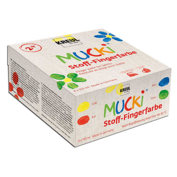Mucki Textil Fingerfarben Set, 4x 150ml