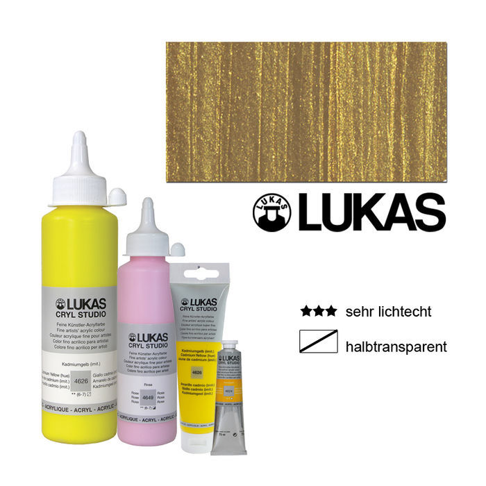 Lukas Cryl Studio Acrylmalfarbe, 500ml, Gold