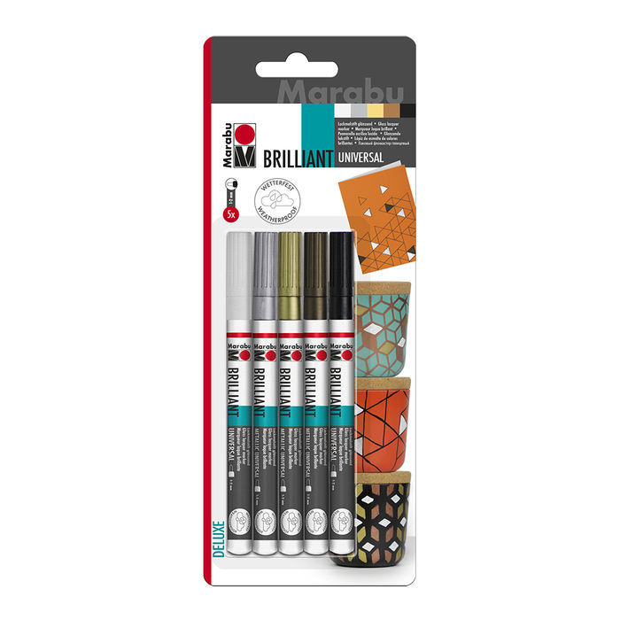 Marabu Brillant Painter, Spitze 1-2 mm, 5er-Set