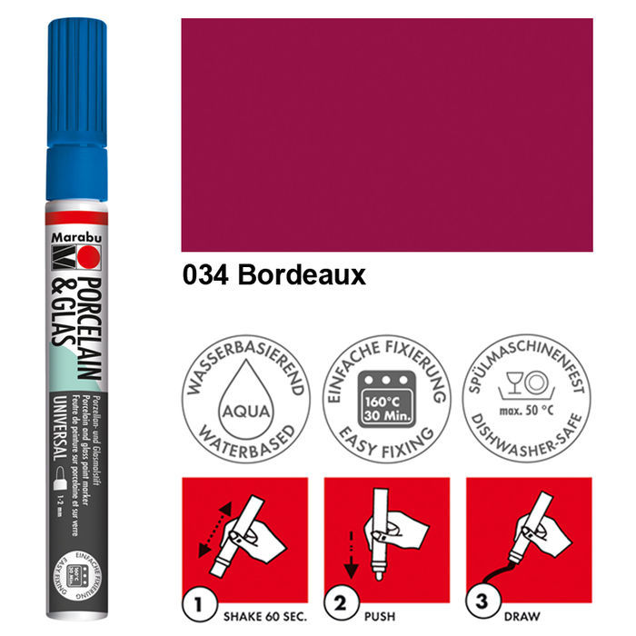 Marabu Porzellan & Glas Stift, 1-2mm, Bordeaux