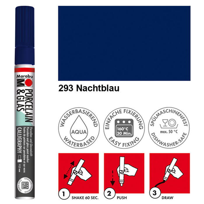 Porzellan /& Glas-Marker nachtblau 1-2 mm