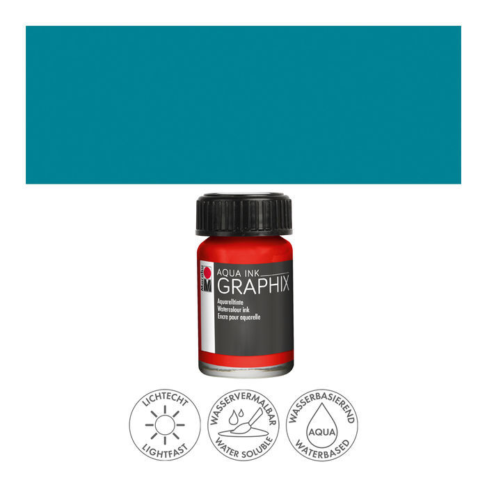 Marabu Aqua Ink Graphix, 15ml, Petrol
