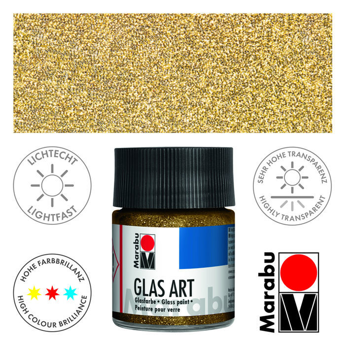 SALE Marabu GlasArt, 50 ml Glas, Glitter-Gold