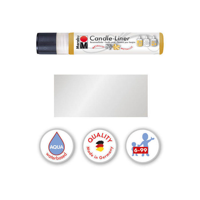 Marabu-Candle Liner 25 ml, Metallic-Silber