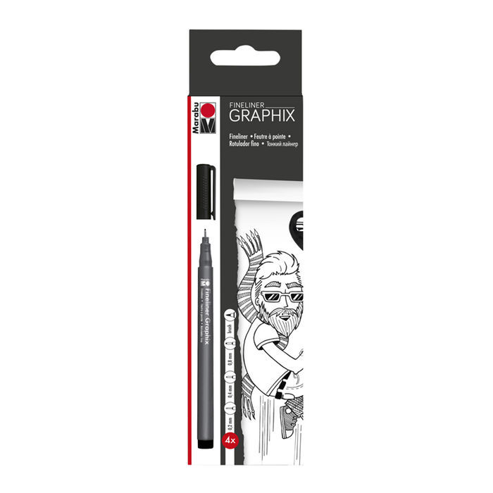 Marabu Fineliner Graphix 4er Set in Schwarz