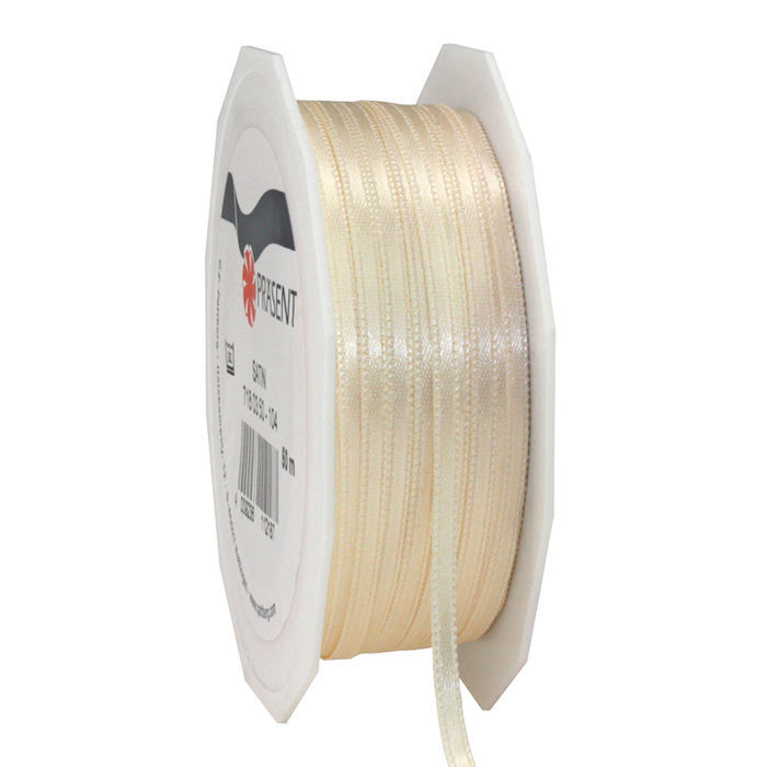 Satinband, 3mm x 50m, creme