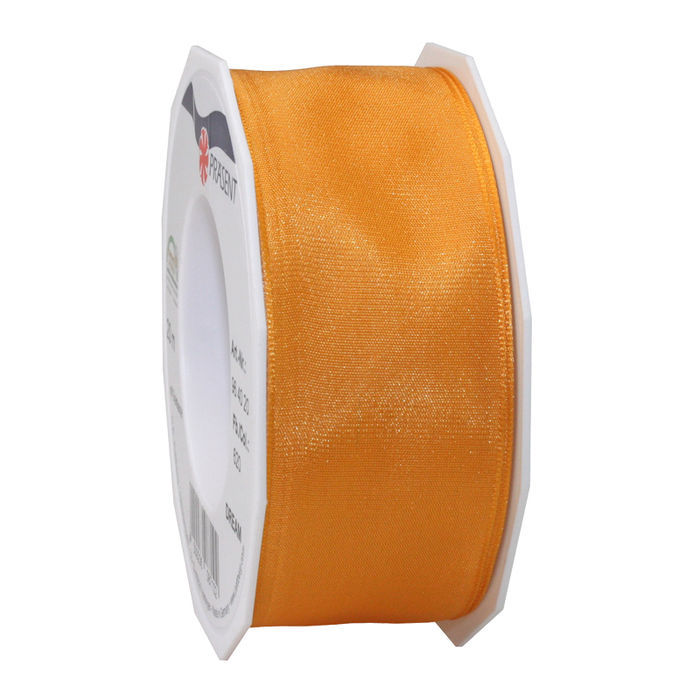 Seidenband mit Draht, 40mm x 20m, orange