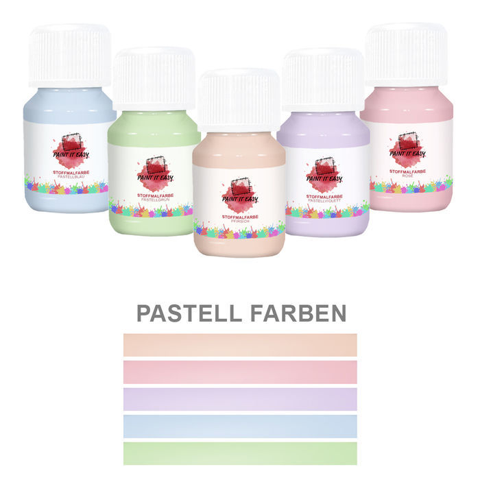 Paint It Easy Textilfarbe Light Set, 5x 50ml Pastellfarben