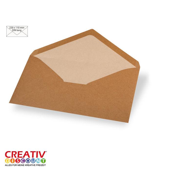 Kuvert Din Lang 220x110mm 5 Stück Kraftpapier Kartengestaltung