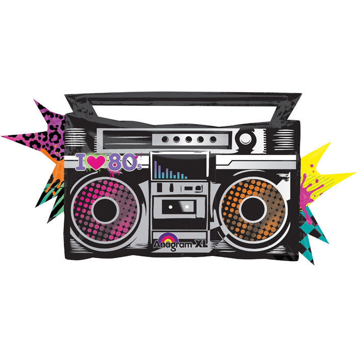 Folienballon Totally 80`s Boombox ca. 88x43 cm