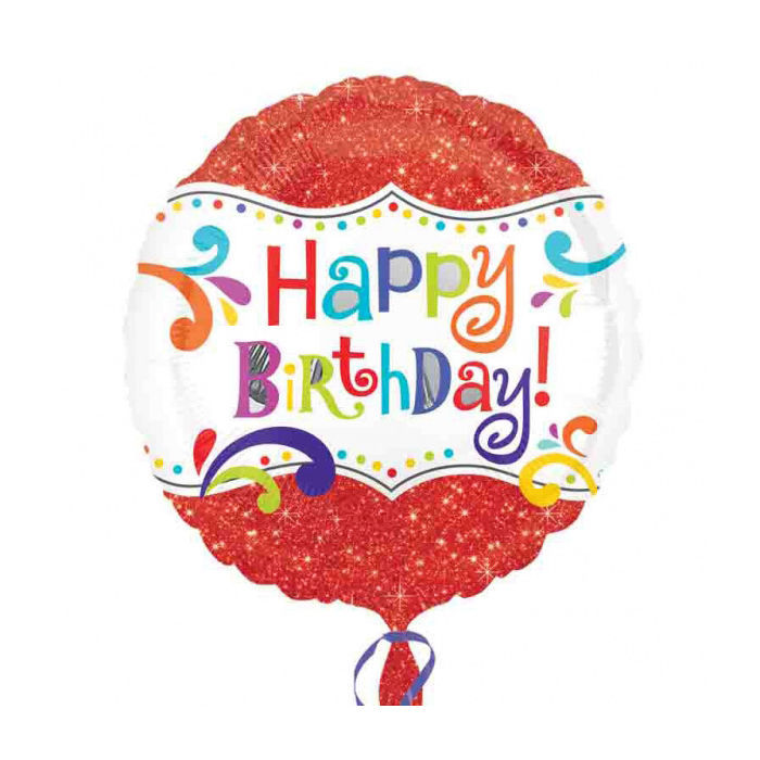 Folienballon Happy Birthday Sparkle, ca. 45 cm