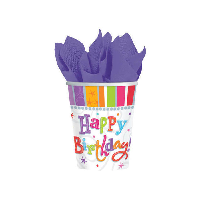 Becher Radiant Birthday, 8 Stk. 266 ml