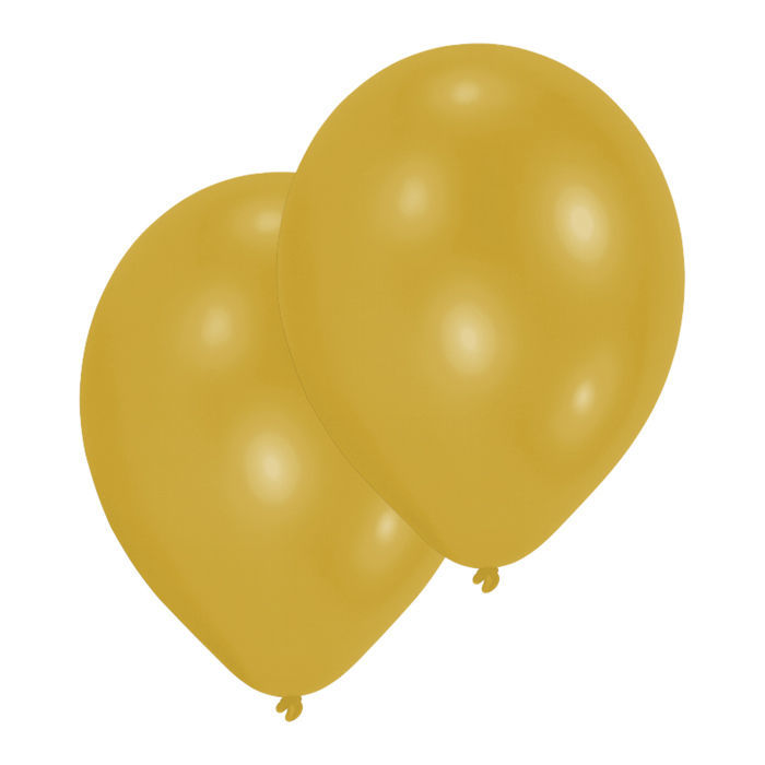 Luftballon Metallicfarben gold, 10er-Pack