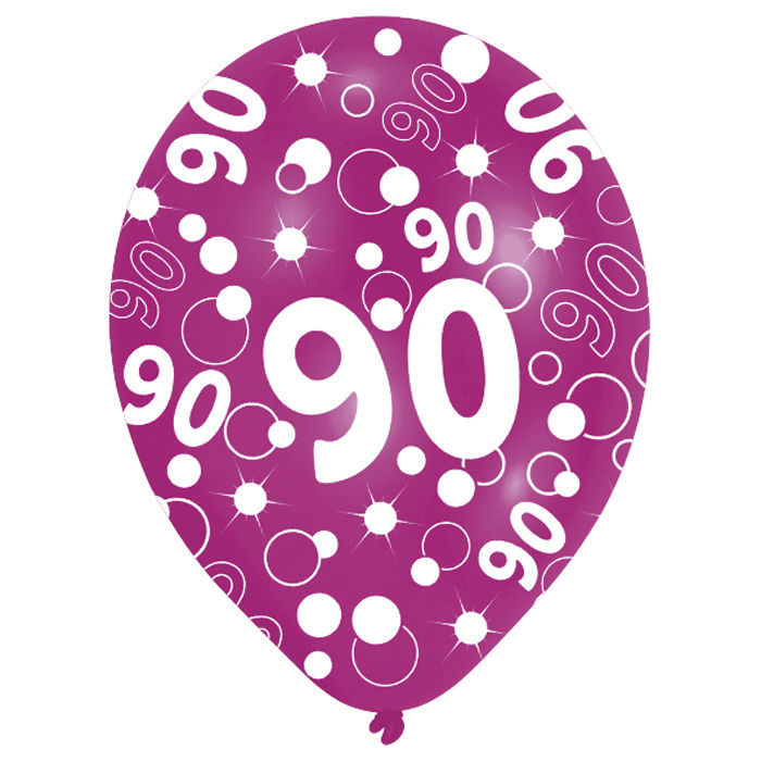 SALE Luftballon Happy 90th Birthday Bunt 6 Stk