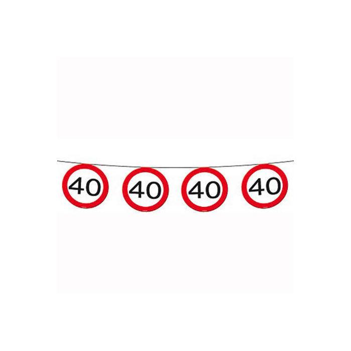 Geburtstag 12 m Girlande Verkehrsschild 40