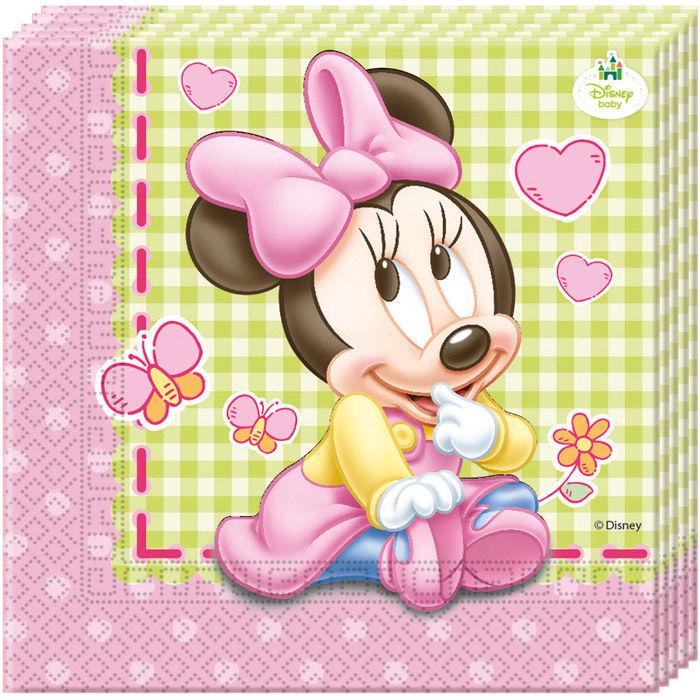 Servietten Minnie Baby 33x33cm 20 Stuck Geburtstag Baby Minnie