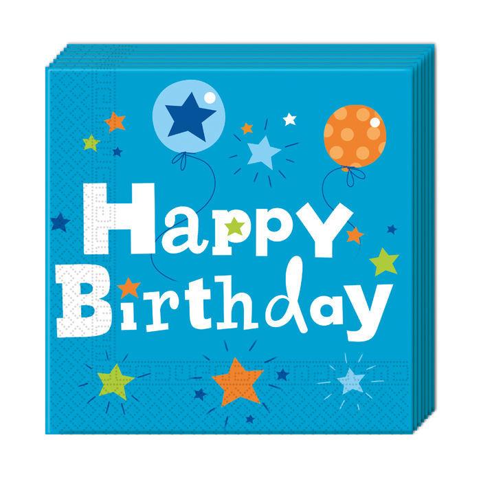 Servietten Happy Birthday Boy 33x33cm 20 St