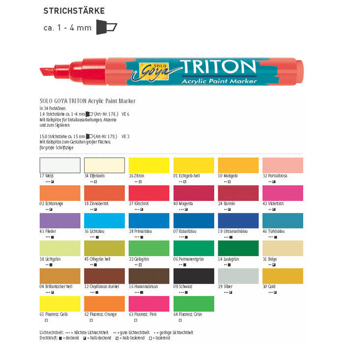 Triton Acrylic Marker 1-4 mm, Brillantocker Bild 3