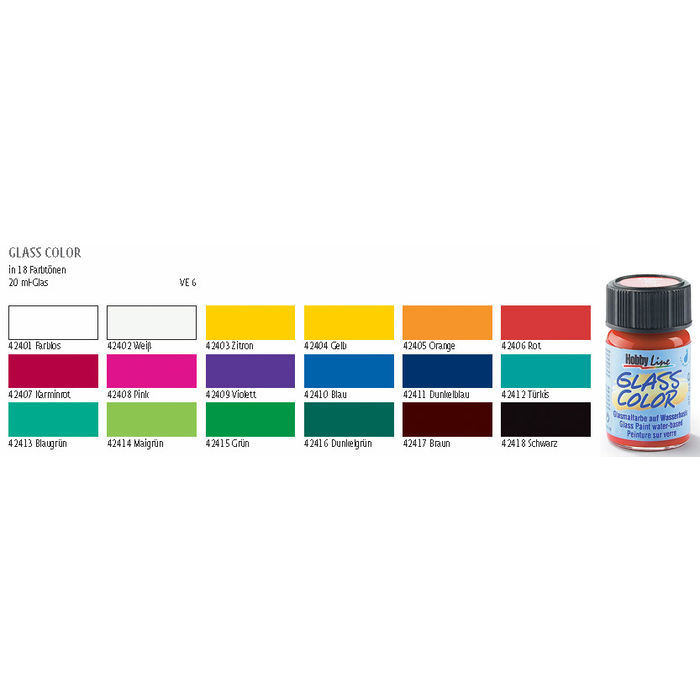 SALE Glass Color Glasmalfarbe, 20ml, Farblos Bild 2