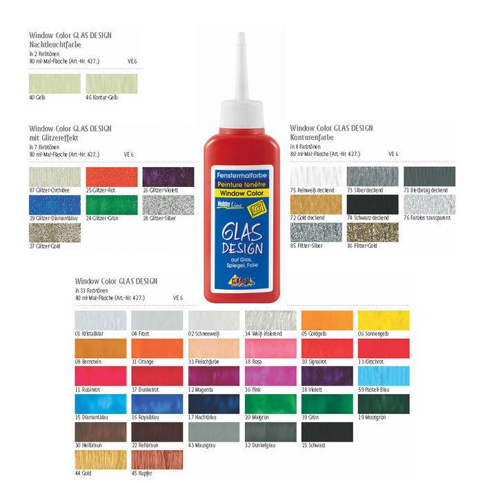 Glasdesign window color malfarbe 80ml farbauswahl inkl konturfarben ebay - Color design tollens ...